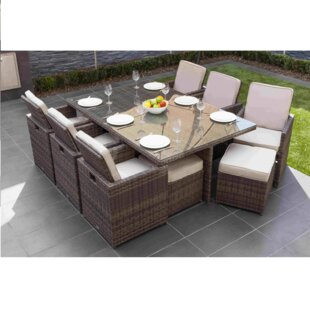 Leela 11 Piece Outdoor Patio Dining Set with Cushions by Latitude Run