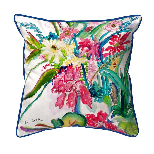 Betsy Drake Interiors Multi Florals Outdoor Square Pillow