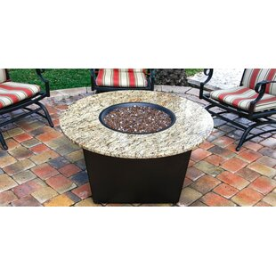 Firetainment The Santiago Granite Gas Fire Pit Table with Universal Cooking Package