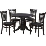 Langwater 5 - Piece Rubberwood Solid Wood Dining Set by Beachcrest Home™