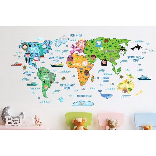 Wandtattoo Kinder-Weltkarte | Dekoration > Wandtattoos | East Urban Home