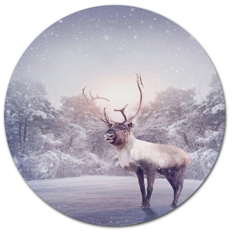 Designart Huge Reindeer Standing In Snow Photographic Print On Metal Wayfair