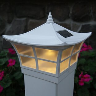 Solar Ambience White Vinyl LED Fence Post Cap by Classy Caps