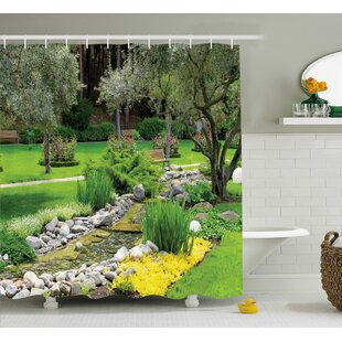 Top Waverley Garden Japanese Park Style Recreational View With Pond Grass Stones and Trees Landscape Shower Curtain ByEbern Designs