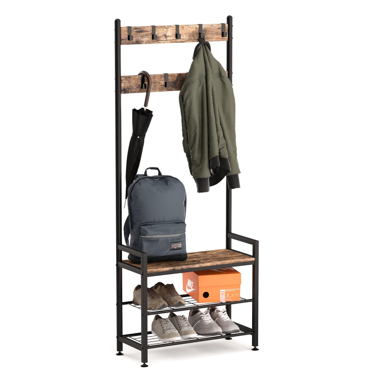 Ballucci Industrial Shoe Bench Coat Rack, 3-Tier Hall Tree, 3 In 1