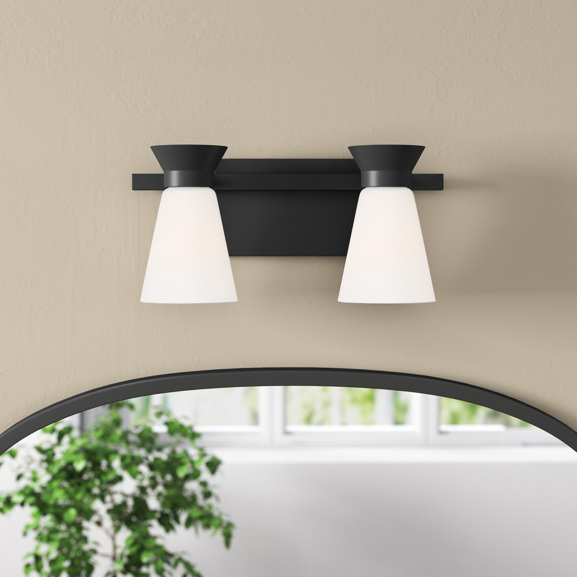 Waymart 2 Light Dimmable Black Vanity Light Joss Main