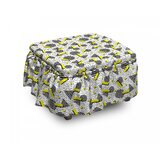 Geometric Zigzag Chevron Circle 2 Piece Box Cushion Ottoman Slipcover Set by East Urban Home