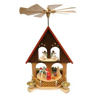 Wood 2 Tier House with Santa Pyramid