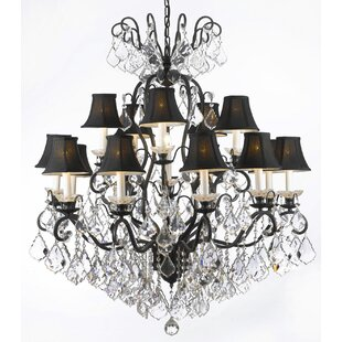 Rosdorf Park Clemence 16-Light Chrome Shaded Chandelier
