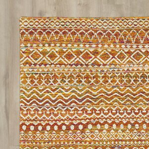 Delrico Hand-Knotted Apricot Area Rug