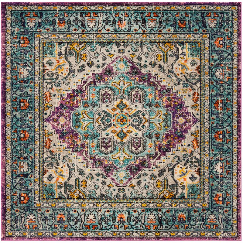 Bloomsbury Market Hackmore Violet/Light Blue Area Rug, Size: Rectangle 67 x 92