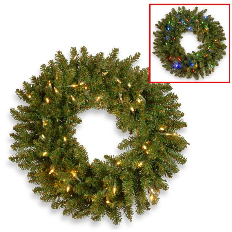 """Kingswood Fir 24"""" Lighted Wreath"""