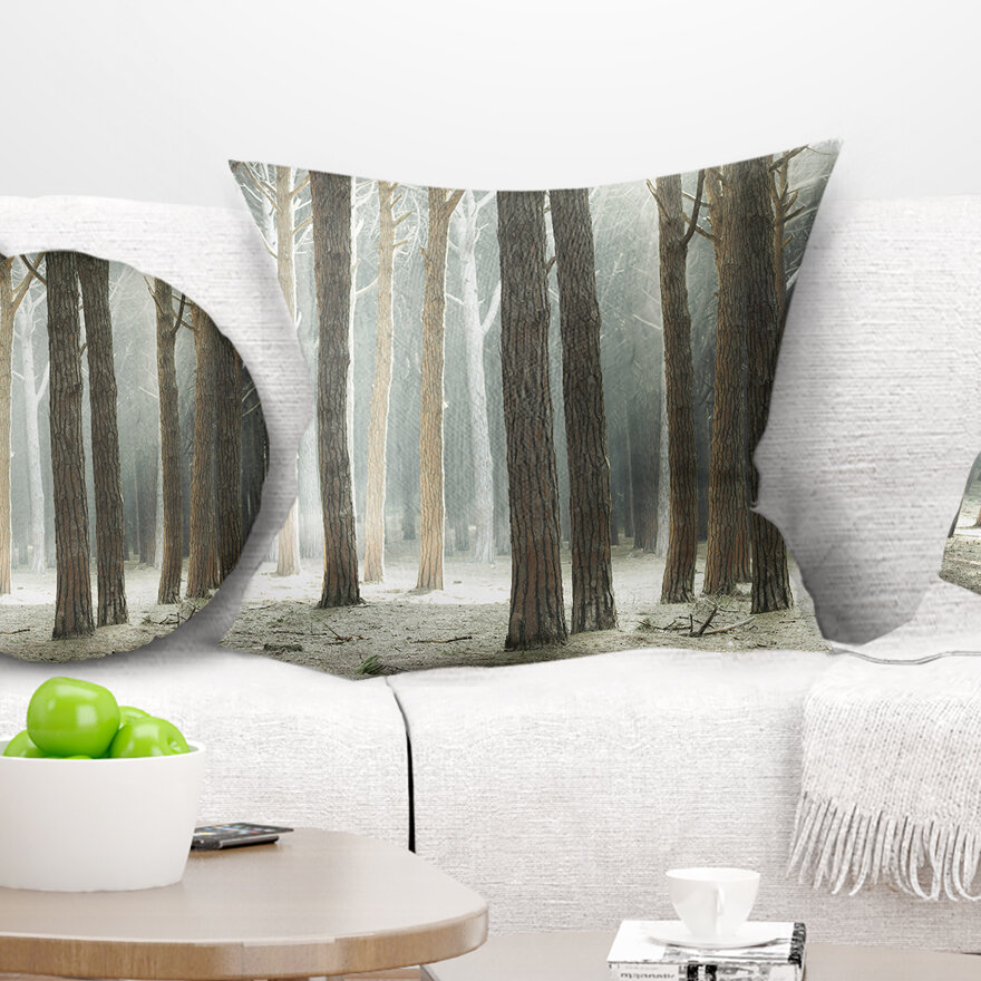 East Urban Home Maritime Pine Tree Forest With Rays Forest Pillow Wayfair
