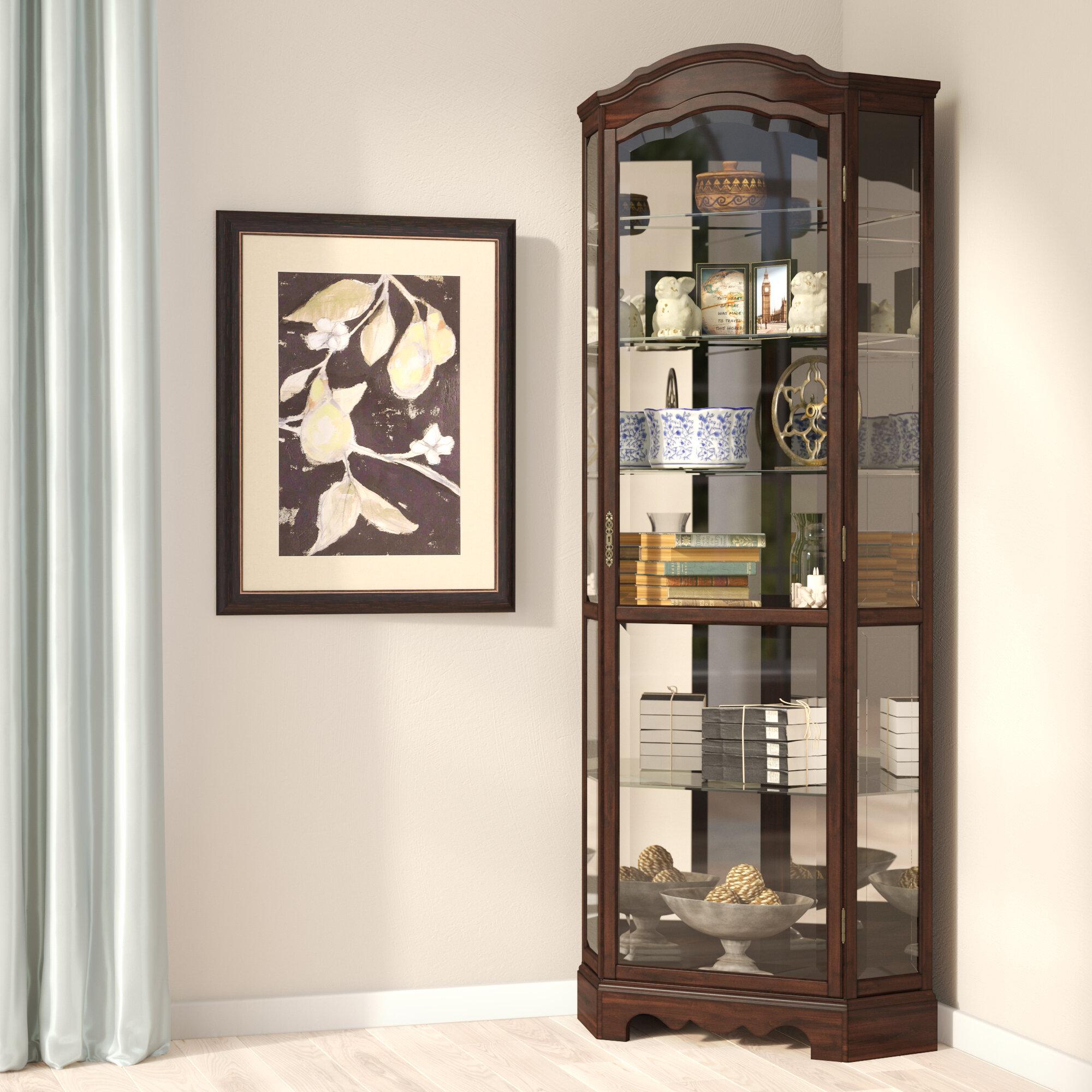 for mahogany interior cabinet lighted sale corner oak solid curio