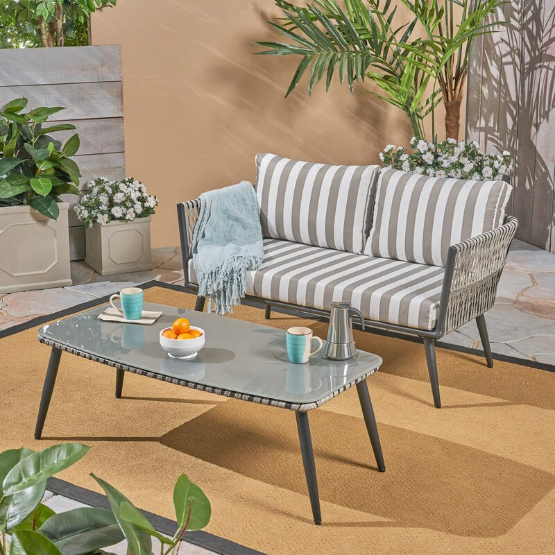 Wrought Studio Maguire 2 Piece Rattan Sofa Seating Group