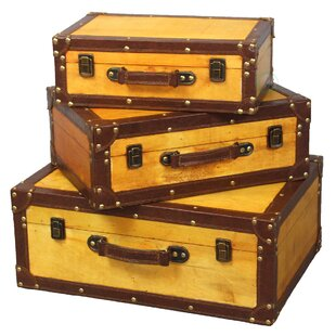 Peabody 3 Piece Old Vintage Trunk Set by World Menagerie