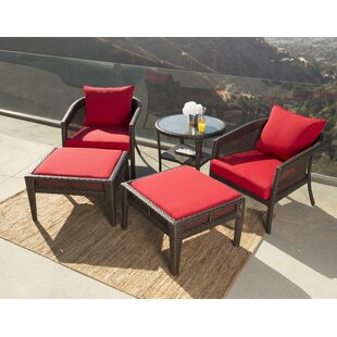 Fincham 5 Piece Rattan Sunbrella Conversation Set with Cushions