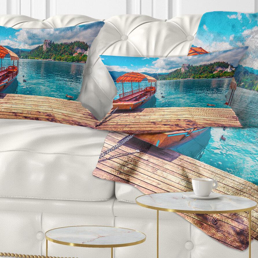 East Urban Home Printed Boat In Lake Bled In Julian Alps Lumbar Pillow Wayfair