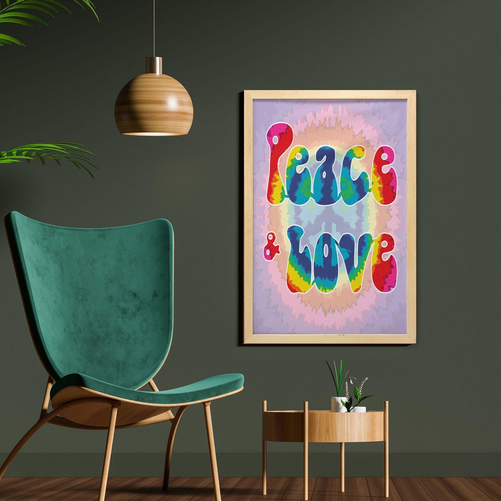 Peace And Love In Tie Dye Effect Pattern Energetic Youthful Fun Hippie - Print
