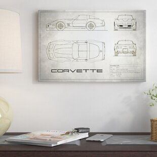 'Chevrolet Corvette C3 Body Type' Graphic Art Print on Canvas in Vintage Silver By East Urban Home