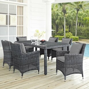 Alaia 7 Piece Rattan Sunbrella Dining Set with Cushions