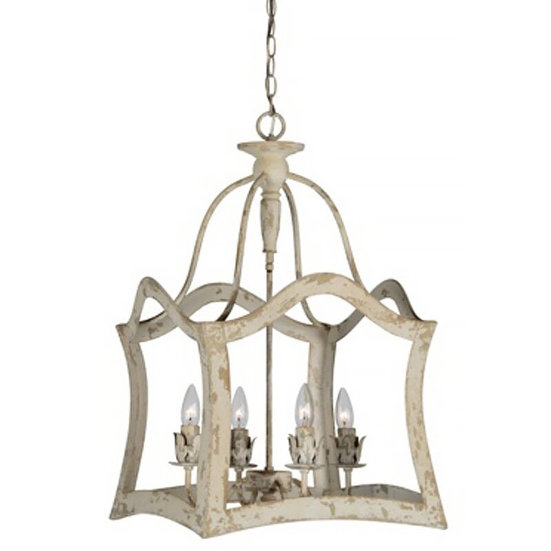 Alejandro 4-Light Lantern Chandelier. Hello Lovely, White French Home Decor for Fans of Country Interiors.