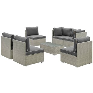 Online Purchase Heinrich 7 Piece Rattan Sectional Set with Cushions Purchase & reviews