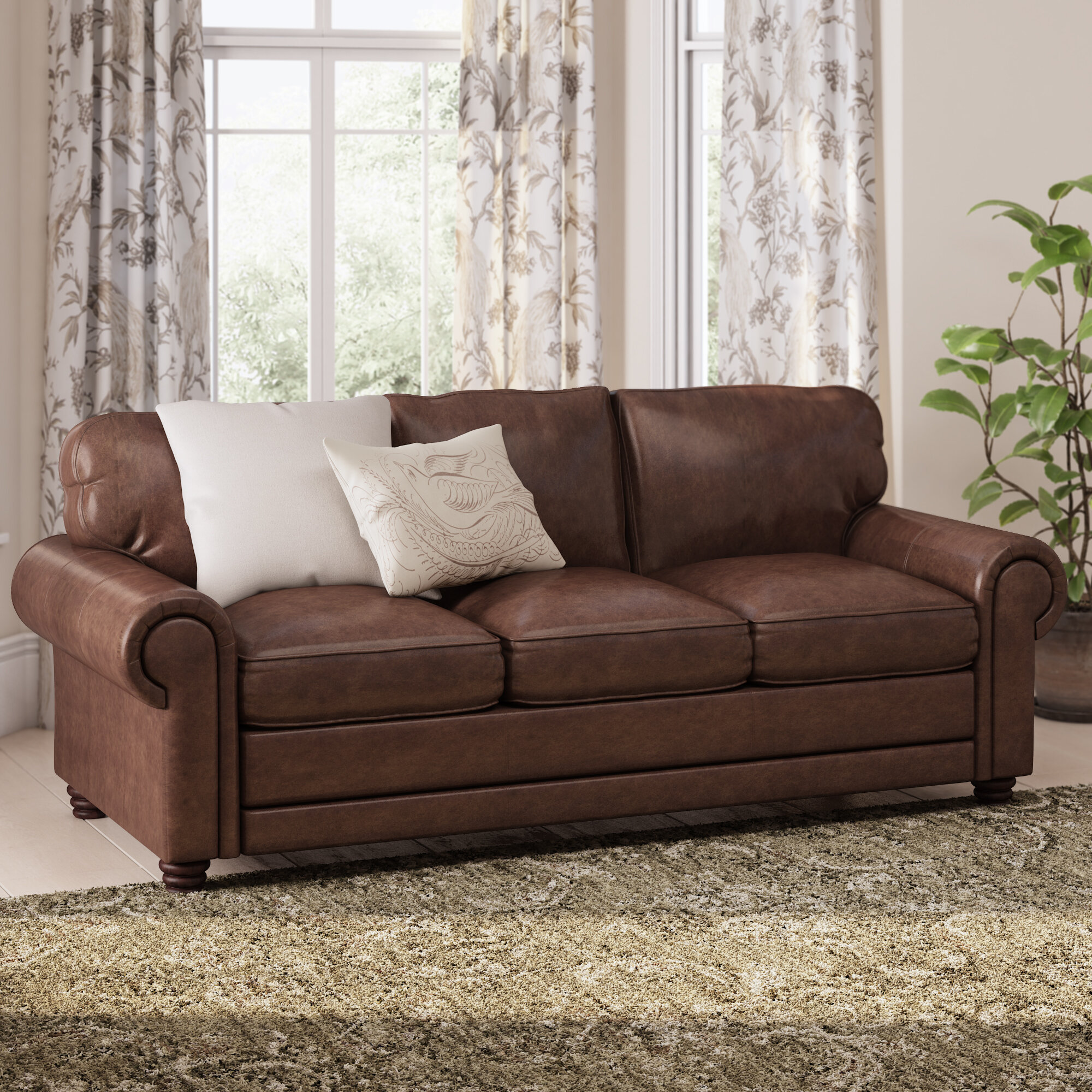 Canora Grey Lambdin Leather Sofa & Reviews | Wayfair