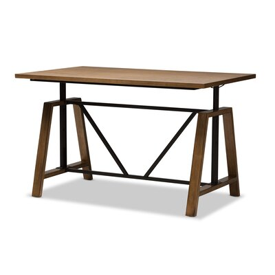 Ailith Metal and Distressed Wood Standing Desk by Foundry Select