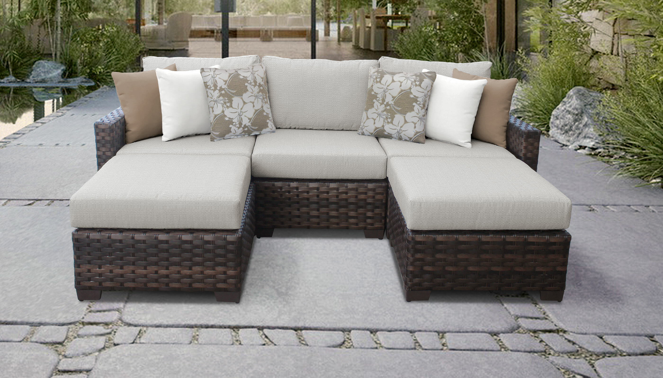 Wayfair & Kathy Ireland Homes \u0026 Gardens River Brook Wicker Patio Sectional with Cushions