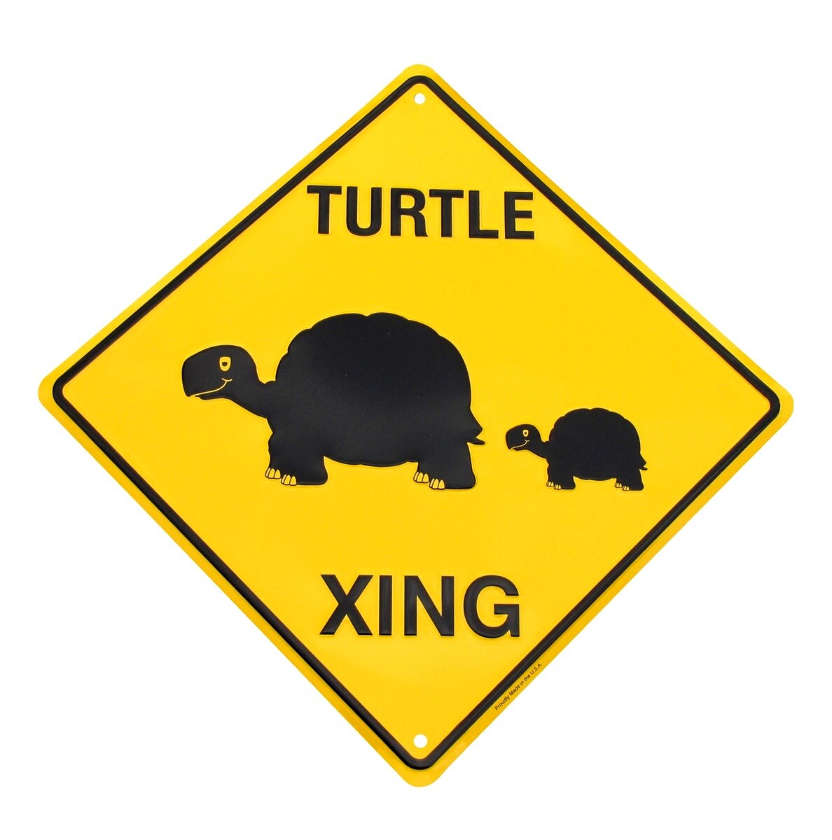 Slow Turtle Crossing Funny Metal Sign