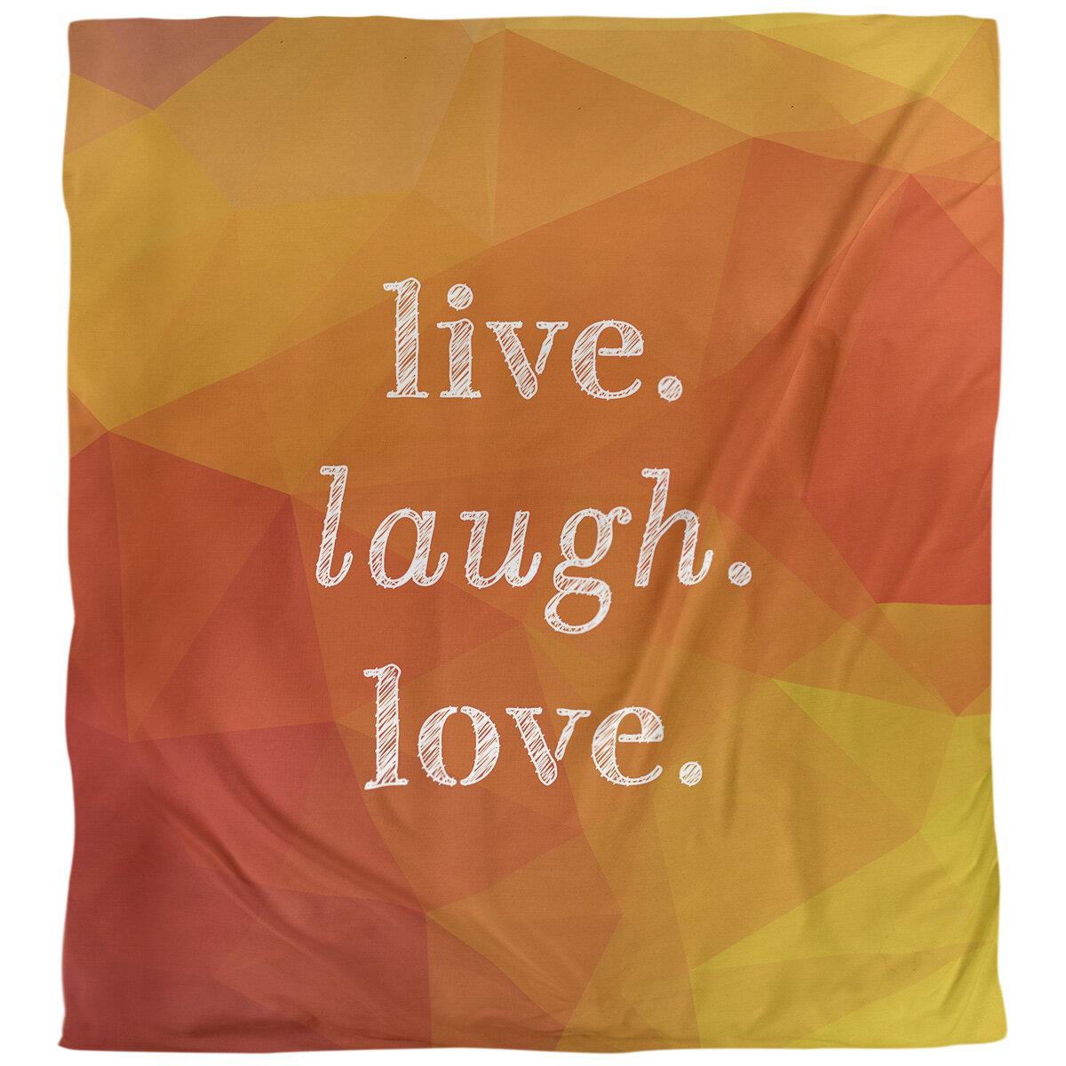 East Urban Home Quotes Faux Gemstone Live Laugh Love Single Reversible Duvet Cover Wayfair