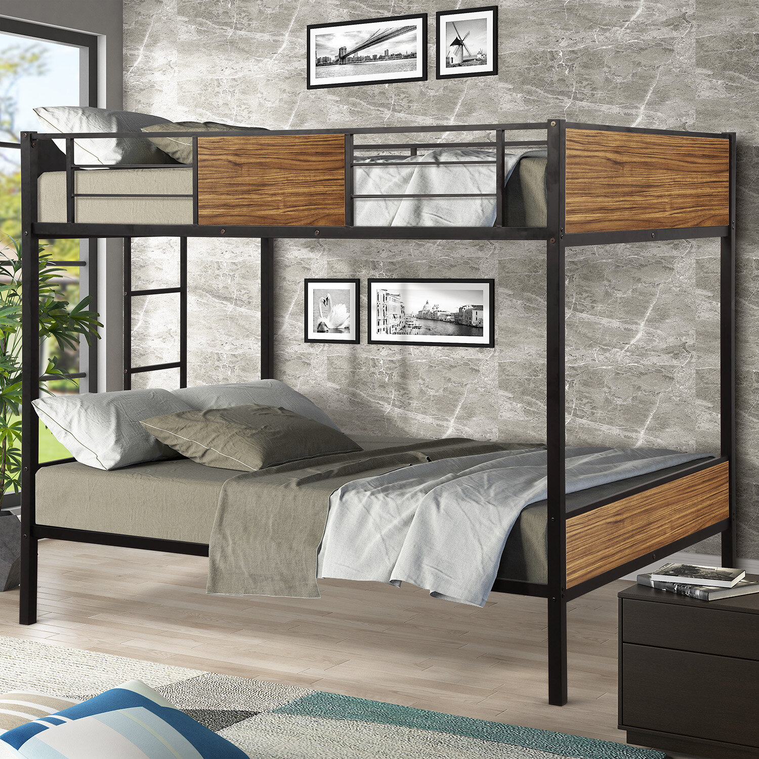 Image of: Mason Marbles Twin Over Twin Modern Style Steel Frame Bunk Bed With Safety Rail Wayfair