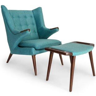 Kardiel Bear Wegner Papa Wingback Chair and Ottoman