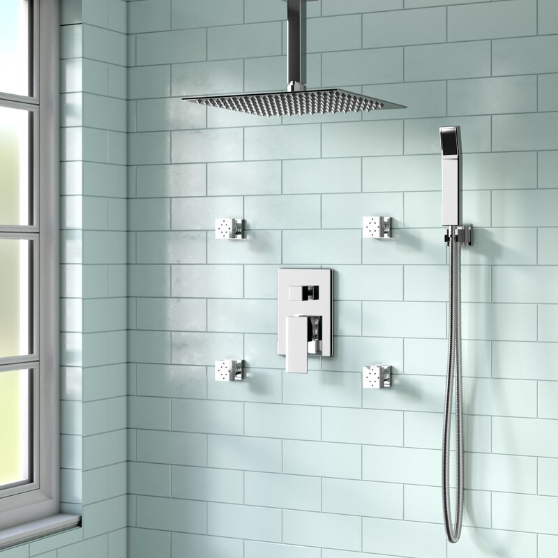 Rebrilliant Cahoon Shower System w/ 12? Rain Shower, 4 Body Jets and ...