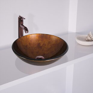 Review Russet Glass Circular Vessel Bathroom Sink with Faucet by VIGO