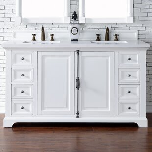 Ogallala 60 Double Ceramic Sink Cottage White Bathroom Vanity Set by Greyleigh