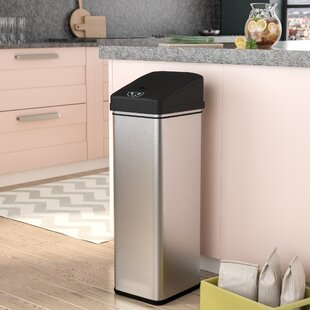 Rebrilliant Ealy Stainless Steel 13 Gallon Motion Sensor Trash Can