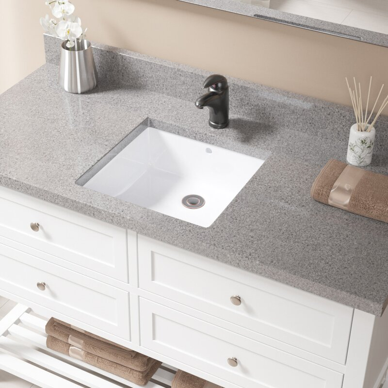 Vitreous China Square Undermount Bathroom Sink With Overflow
