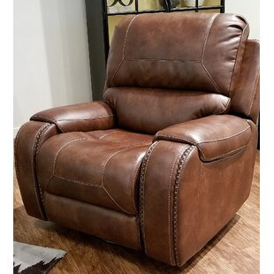 Find for Stampley Leather Air Nailhead Swivel Glider Recliner by Millwood Pines Reviews (2019) & Buyer's Guide