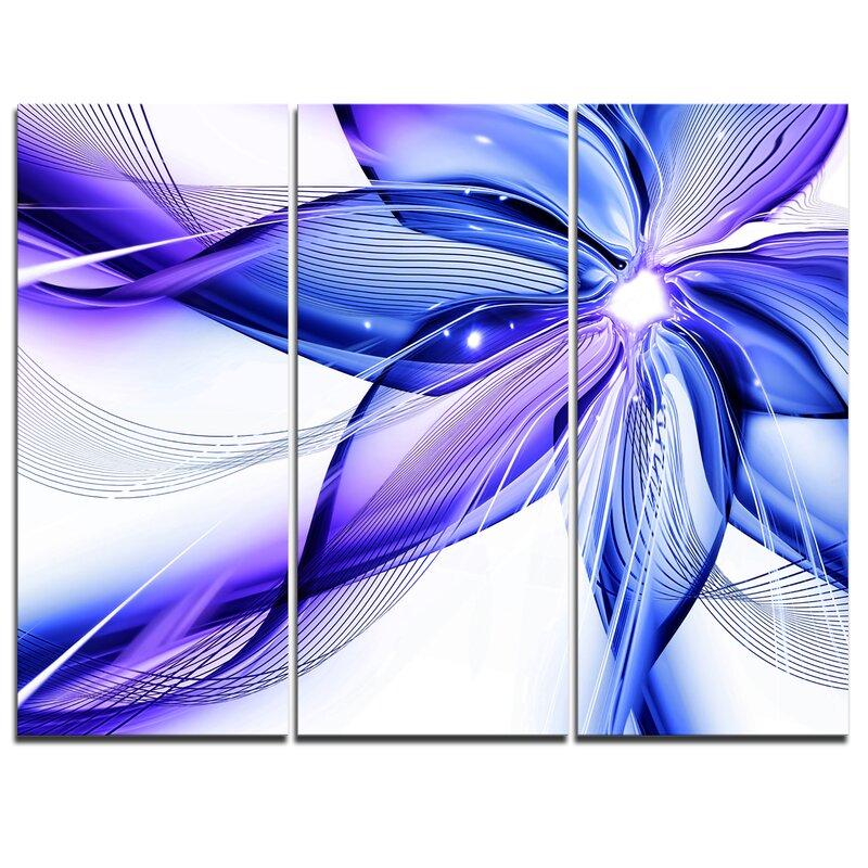 Designart Fractal Bright Blue Flower 3 Piece Graphic Art On Wrapped Canvas Set Wayfair