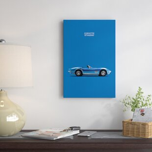 'Chevrolet Corvette Stingray' Graphic Art Print on Canvas in Blue By East Urban Home