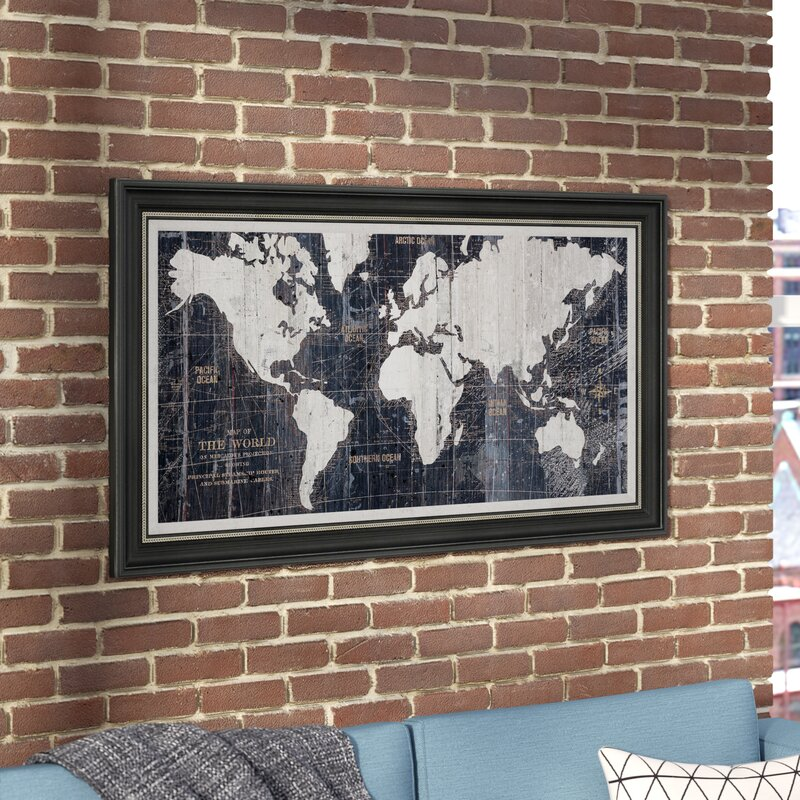 old world map blue framed graphic art on wrapped canvas - World Map Framed Art