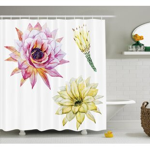 Verda Vector Image With Watercolored Cactus Flowers Colored Desert Nature Print Single Shower Curtain