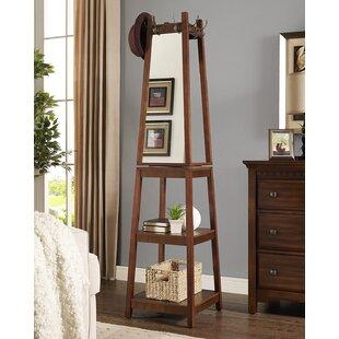 Roundhill Furniture Vassen Swivel Coat Rack with 3-Tier Storage and Mirror Shelf