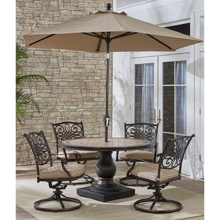 Grooms 5 Piece Dining Set with Cushions by Fleur De Lis Living