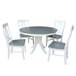 48 Round Fixed Top 5 Piece Pedestal Dining Set