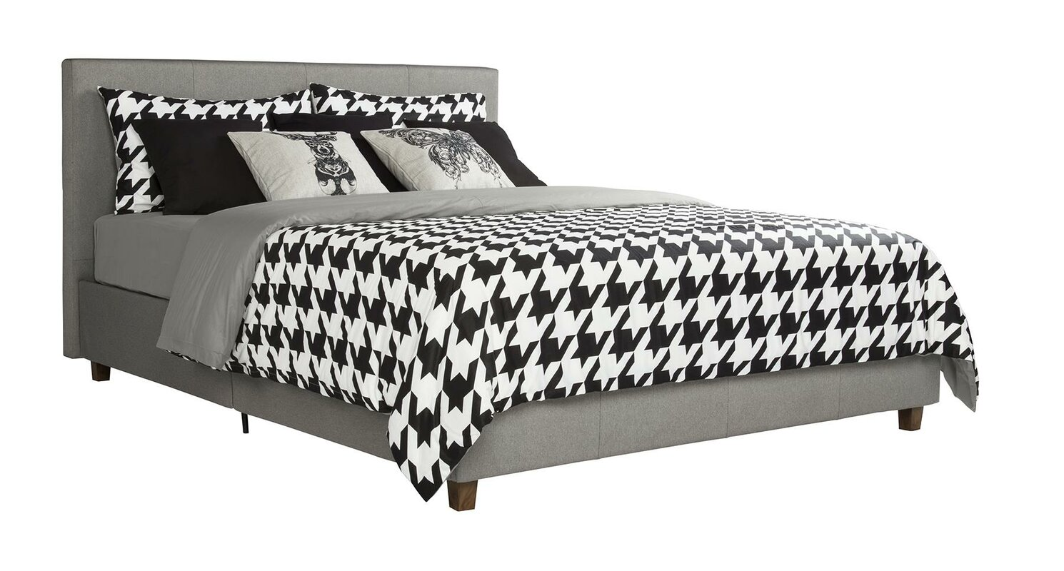 acme furniture clyde upholstered queen bed gray