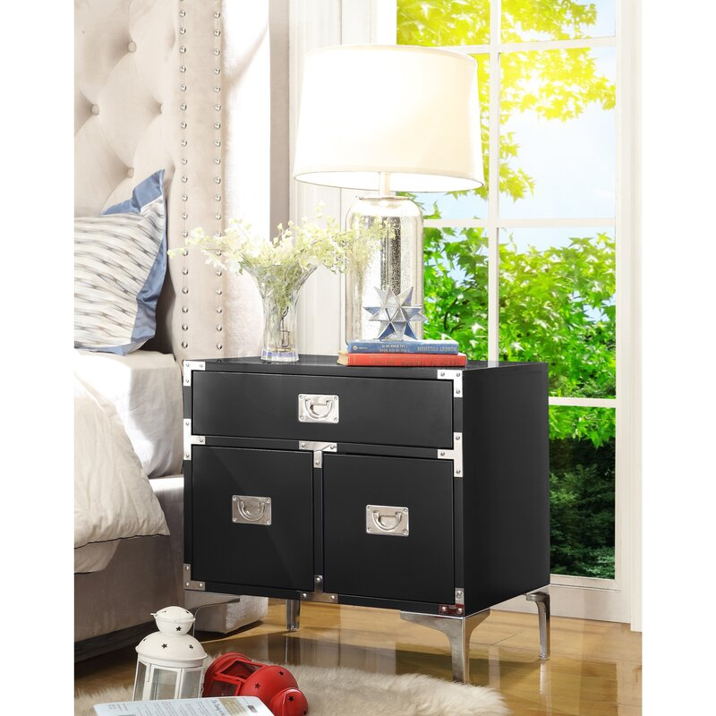 17 Stories  Marcelo 1 Drawer Nightstand Color: Black