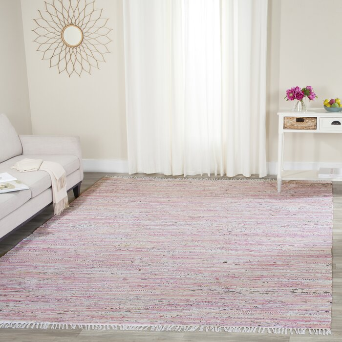 Lansing Handwoven Flatweave Cotton Light Pink Area Rug